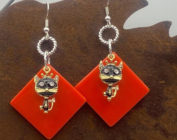 Cat Earrings Black and Orange