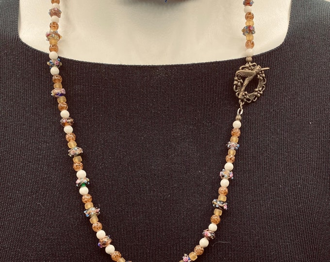 Long beaded necklace, vintage beads, flapper