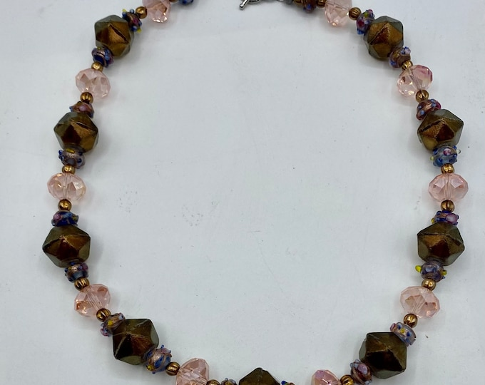 English cut and vintage bead choker necklace