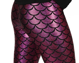 2f13da0bb8fa41 Fuschia Mermaid Spandex Leggings