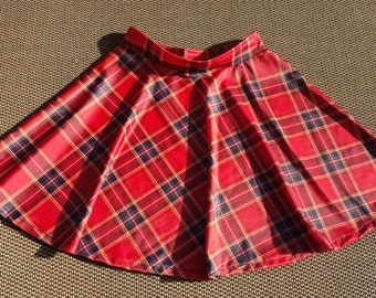 CLEARANCE - Red Tartan Plaid Spandex Skater Skirt