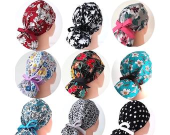Scrub Hat Leaves on Light Pink Design Ponytail Scrub Cap for Women Surgical Hat Belinda