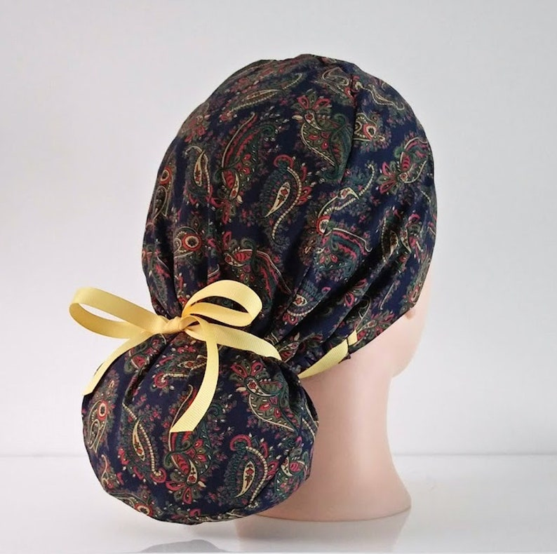 Liberty of London Cotton quick ship USA scrub cap with buttons scrub hats for women ponytail