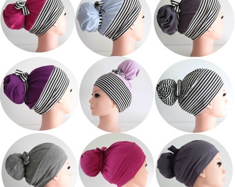 surgical scrub hat ponytail, stretchy knit jersey hats, womens scrub caps, stripes and solid colors handmade USA