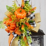 Fall Lantern Swag with Pumpkins
