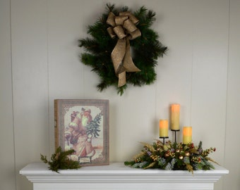 Christmas Mantel Swag, christmas swag, holiday mantel swag, holiday mantel decor, christmas mantel decor