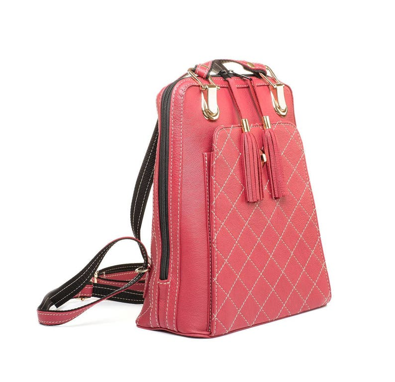 2de6dcded34ec Red leather backpack town backpack Travelling Women backpack