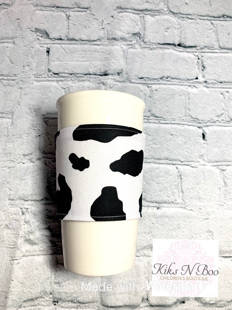 Coffee cozie coffee cozy sleeve  hot drink cold drink cow image 0