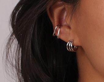 Minimalist Triple Band Chunky Open Hoop Earrings