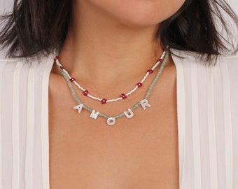 Initial necklacechoker with mother-of-pearl letterbead necklace with letter