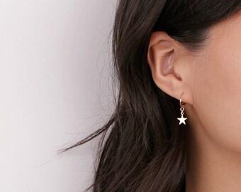 14k Gold Filled Modern Hoop Dangling Star Earrings - Gold Sleek Earrings  - Gold Star Hoop Earrings