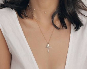 Perfect Layering 14K Gold Filled Virgin Mary Necklace - Gold Cross Necklace - Long Religious Necklace