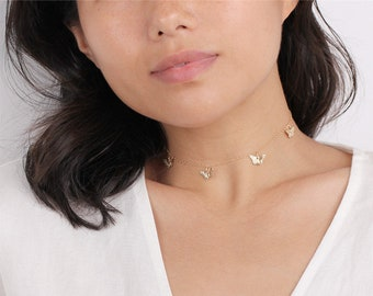 Perfect Layering Gold Butterfly Choker Necklace - Dainty Butterfly Choker - Dangle Choker Necklace - 14K Gold Filled Choker
