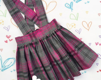 Grey & Pink Tartan Suspender Skirt