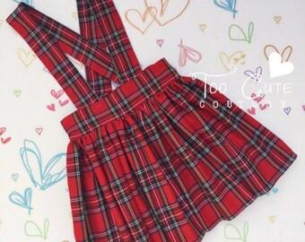 Red Tartan Suspender Skirt & Socks Set