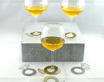 Engagement Ring Wine Charm Wine Tag Name Tag Diamond Ring Wine Glass  Wedding Bridal Shower Bachelorette Party Diamond Ring Engagement Gold 9b16e132dc63