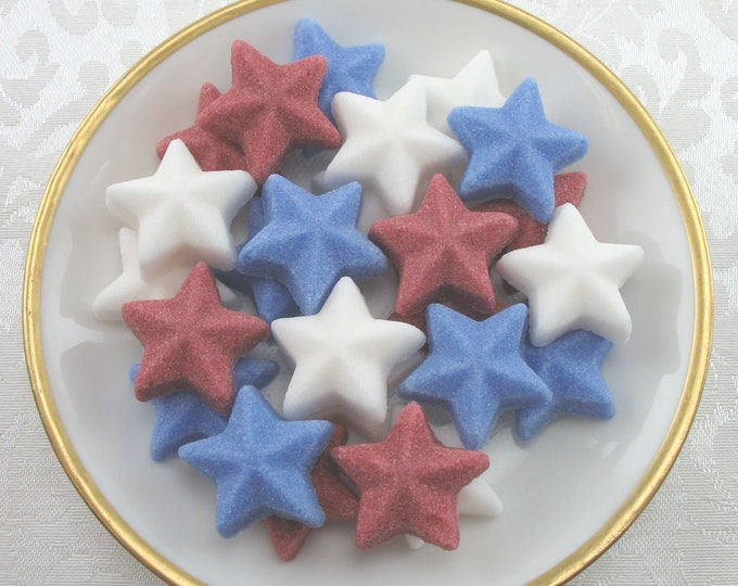 28 Large Raised Star Sugar Cubes in Patriotic Mix