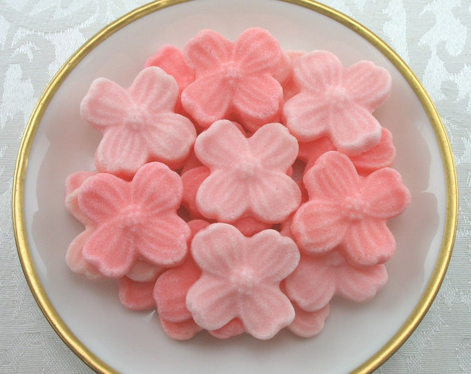 30 Peach & Coral Dogwood Blossom Sugar Cubes for your tea party