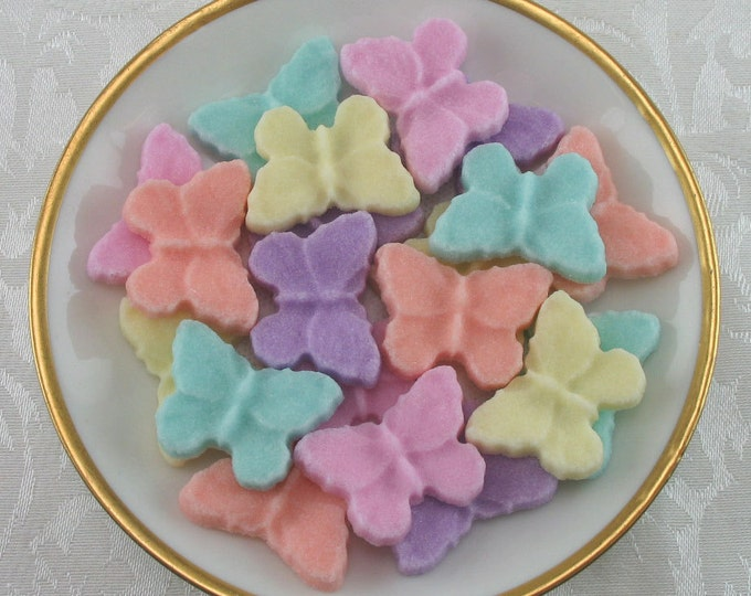 32 Dainty Butterfly Shaped Sugar Cubes in Pastel Mix