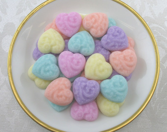 36 Embossed Heart Sugar Cubes in Pastel Mix