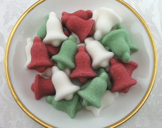 30 Christmas Bell Sugar Cubes in Traditional Mix for Your Christmas tea party or Coffee Bar