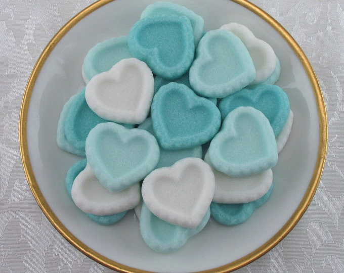 30 Turquoise Heart Sugar Cubes