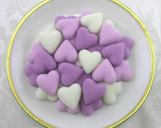 60 Lavender Petite Heart Sugar Cubes