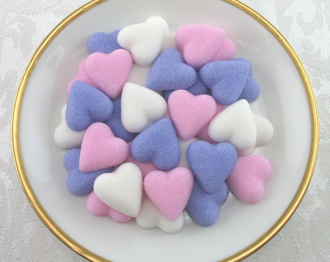 60 Pink, Violet & White Petite Heart Sugar Cubes