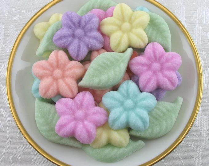 26 Pastel Wild Rose & Leaf shaped sugar cubes