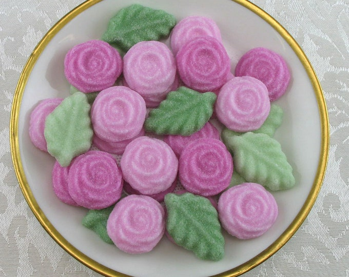 36 Pink Rose and Leaf Sugar Cubes