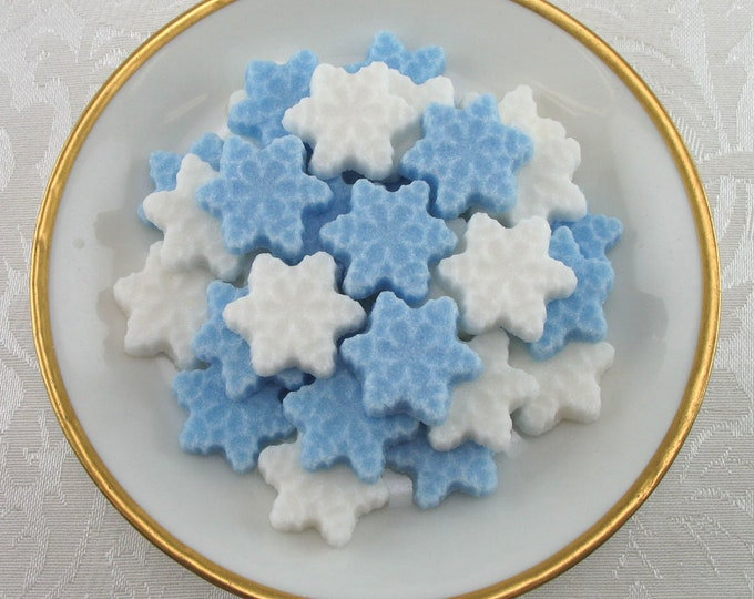 42 Mini Snowflake Sugar Cubes for Christmas, Winter Tea Party or Hostess Gift
