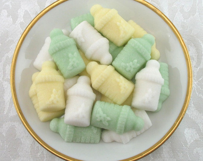 22 Green, Yellow & White Gender Neutral Baby Bottle Shaped Sugar Cubes
