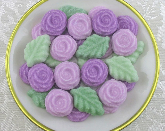 36 Lavender Colored Rose and Leaf Shaped Sugar Cubes