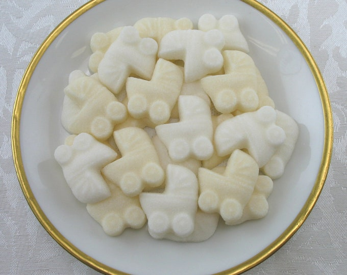 36 Ivory Gender Neutral Mini Baby Buggy Shaped Sugar Cubes
