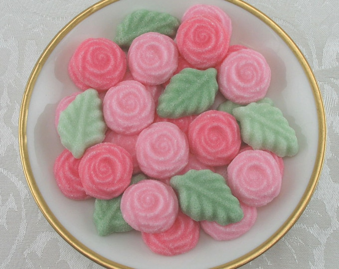 36 Salmon Rose and Leaf shaped sugar cubes for your tea party