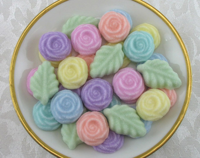 36 Open Rose and Leaf Sugar Cubes in Pastel Mix