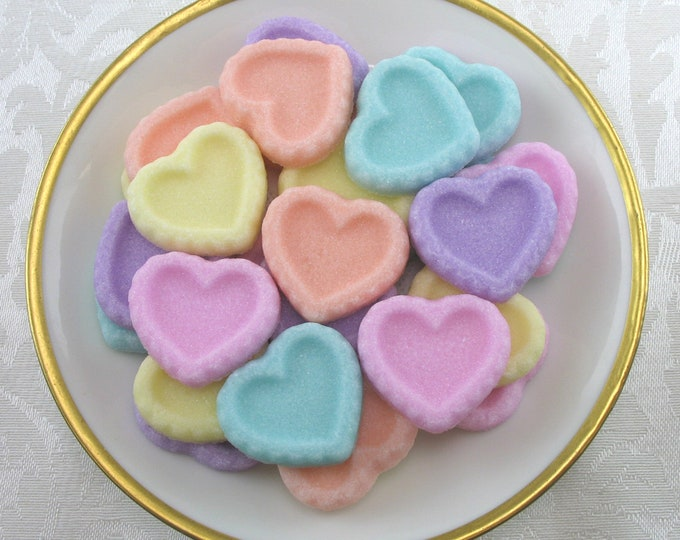 30 Heart Sugar Cubes in Pastel Mix