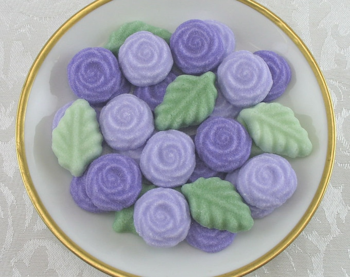 36 Purple & Violet Rose and Leaf Sugar Cubes