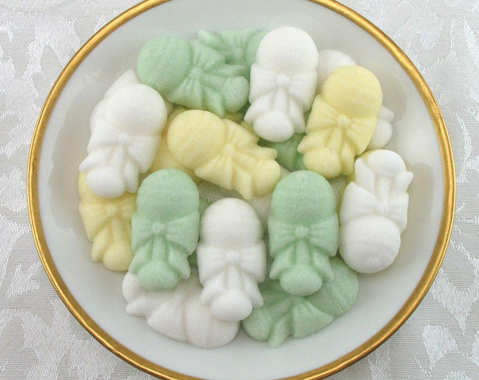 30 Yellow, Green & White Baby Rattle Shaped Sugar Cubes