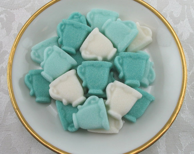 32 Aqua & Teal Green Mini Teacup Sugar Cubes