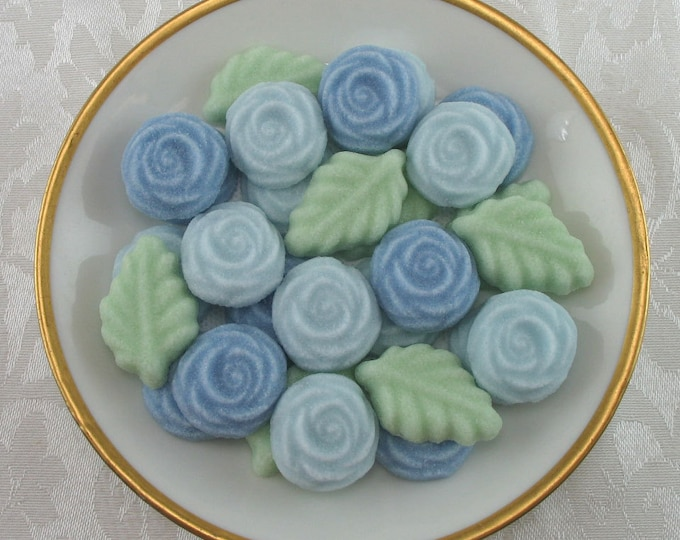 36 Blue Open Rose and Leaf Sugar Cubes