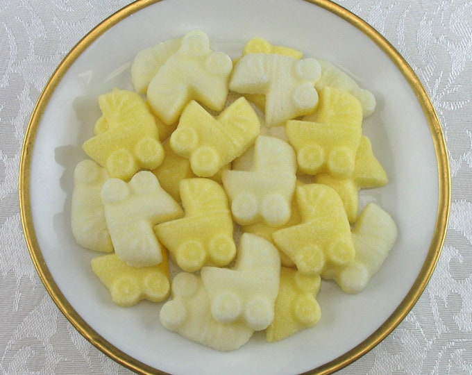 36 Yellow Gender Neutral Mini Baby Buggy Shaped Sugar Cubes