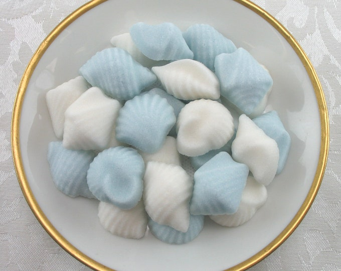 32 Blue & White Assorted Seashell Sugar Cubes for your summertime coffee bar