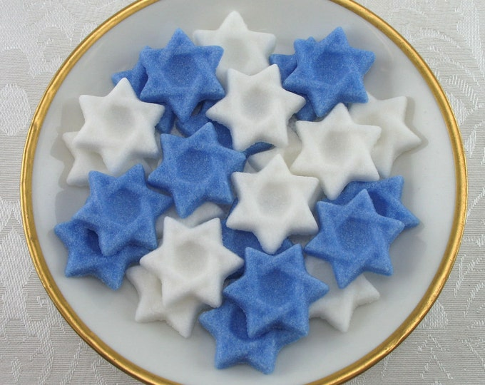 40 Dark Blue & White Star of David Shaped Sugar Cubes