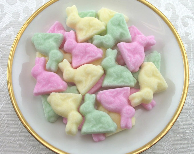 36 Pink, Green & Yellow Bunny Sugar Cubes