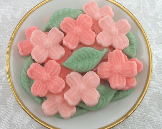 27 Peach & Coral Dogwood Blossom and Leaf Shaped Sugar Cubes