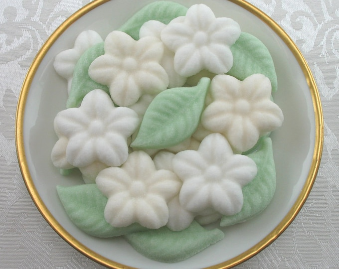 26 White and Ivory Colored Wild Rose & Leaf Shaped Sugar Cubes