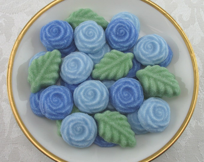 36 Blue Open Rose & Leaf Shaped Sugar Cubes