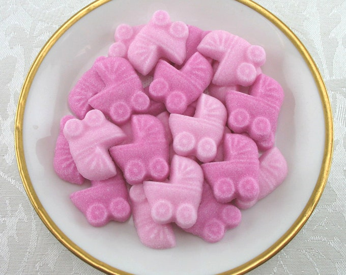 36 Pink Mini Baby Buggy Shaped Sugar Cubes