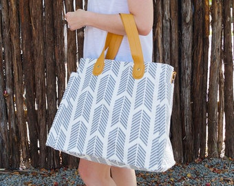 Gray Arrows Weekender Tote Bag - Large Diaper Tote